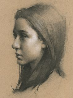Draw Charcoal Charcoal drawing on toned paper Portrait Sketches, Pencil Portrait, Art Drawings Sketches, Portrait Art, Pencil Drawings, Charcoal Sketch, Charcoal Art, Charcoal Drawings, Sketch Painting