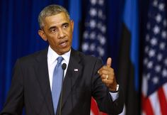 U.S. President Barack Obama gestures during his and Estonian President Toomas Hendrik Ilves's news conference at the Bank of Estonia in Tallinn, Estonia, Wednesday, Sept. 3, 2014. Wednesday's statement came as U.S. President Barack Obama arrived in Estonia in a show of solidarity with NATO allies who fear they could be the next target of Russia's aggression.                ...shared by Vivikene