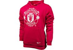 Nike Manchester United Core Hoodie  Diablo Red with White