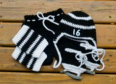 BABY HOCKEY OUTFIT Grandmabit Crochet Hockey Hat, Baby Hockey Skates, Black White Hockey, Knit Baby Hockey Hat, Hockey Baby Gift, Hockey Boy by Grandmabilt on Etsy