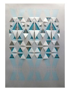 Sarah Louise Matthews,29.7 x 21cm,3-layer papercut featuring a top layer of vellum with a cut and folded geometric tribal inspired pattern, over a metallic shimmer graphite-grey coloured sheet of paper with geometric cut out design