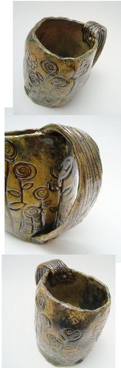 Quirky Dark Garden Mug, Rustic Pottery, Primitive Tankard, Flowers via Etsy
