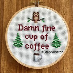 ***THIS IS A PATTERN, NOT A FINISHED PIECE. You will receive an instant download .PDF file so that you can stitch it yourself.***  Finished piece available here: https://www.etsy.com/listing/511814358/damn-fine-cup-of-coffee-twin-peaks-agent?ref=shop_home_active_1  Damn fine cup of