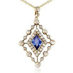 edwardian diamond sapphire pendant  | Edwardian diamond and sapphire pendant of openwork lozenge design, the ...