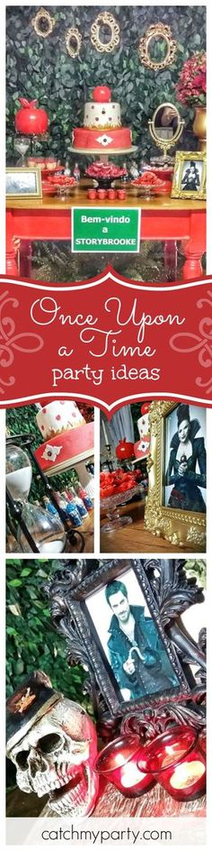 Step into Storybrooke for a fantastic Once upon a time birthday party! The dessert table and backdrop are amazing! See more party ideas and share yours at CatchMyParty.com