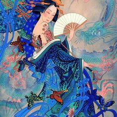Geisha in kimono with animals around illustratio art Geisha Kunst, Geisha Art, Anime Kunst, Anime Art, Art And Illustration, Fantasy Kunst, Fantasy Art, Art Asiatique, Korean Art