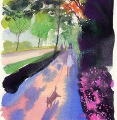 """124 Likes, 1 Comments - 山本重也 (@shigeya_yamamoto) on Instagram: """"#Watercolor  #水彩 #tokyo #東京 #japan #日本 #イラストレーション #illustration #風景 #landscape #日差し #sunlight #つつじ"""""""