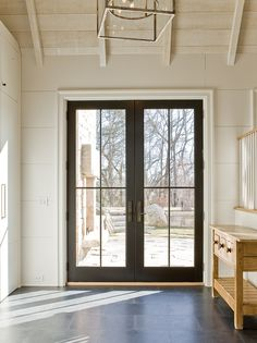 70 Best Modern Farmhouse Front Door Entrance Design Ideas 33 - March 02 2019 at Black French Doors, French Doors Patio, Black Doors, Exterior French Doors, Exterior Patio Doors, Modern Exterior, Black Windows Exterior, Exterior Sliding Glass Doors, Black Door Hardware