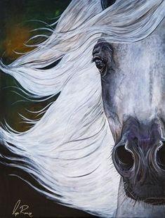 "Original 16"" x 24"" acrylic painting of Bay Arabian Stallion by Lysa Roman"