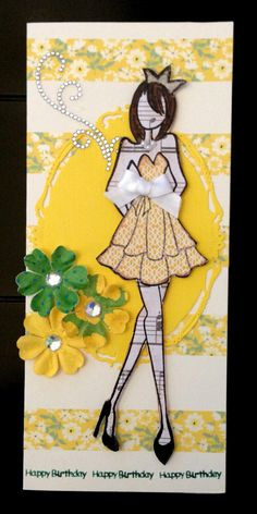 Prima Mixed Media Doll Stamp #3, some washi tape and Spellbinders Opulent Ovals.