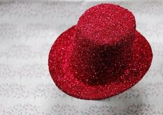 Fascinator Base Ruby Red Glitter 4 Inch Mini Top Hat by p39designs, $5.50