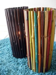 DIY Bamboo Candle Holders : Paint / Stain to the color you want, or leave natural : Use glue gun to attach to a glass candle holder : Patio outdoor lighting