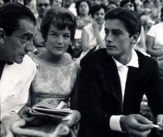 Alain Delon, Romy Schneider and Luchino Visconti in Epidaurus Theater ~ July 1960 #outdoorsgr