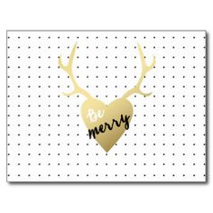 Gold Antlers | Holiday Postcard