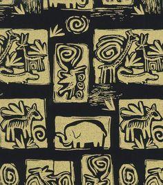 Ethnic Fabric- Animal Wall Art Black Cotton MetallicEthnic Fabric- Animal Wall Art Black Cotton Metallic,