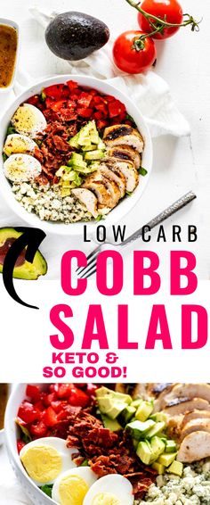 This Low Carb Cobb Salad with Grilled Chicken is the perfect lunch. You are going to love the contrast between crunchy romaine, crispy bacon, creamy blue cheese and avocado, and a delicious sweet heat dressing. Low Carb Taco Salad, Salad Recipes Low Carb, Healthy Chicken Recipes, Keto Recipes, Vegetable Recipes, Free Recipes, Gluten Free Dinner, Keto Dinner, Grilled Chicken