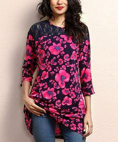 Another great find on #zulily! Navy & Fuchsia Floral Lace Panel Tunic #zulilyfinds