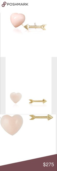 Finn Coral heart and arrow stud earrings Hand carved angel skin coral heart stud with an 18k gold satin finish arrow stud finn Jewelry Earrings