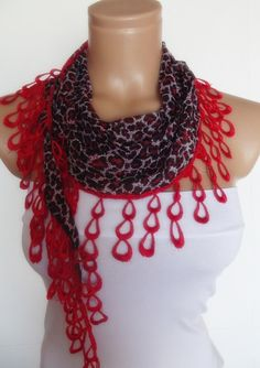2012 summer fashion scarf with lace new design by smilingpoet, $12.90