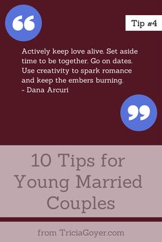 Tip #4 - 10 Tips for Young Married Couples - TriciaGoyer.com