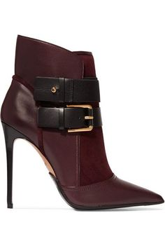 Balmain - Anais Buckled Leather And Suede Ankle Boots - Plum