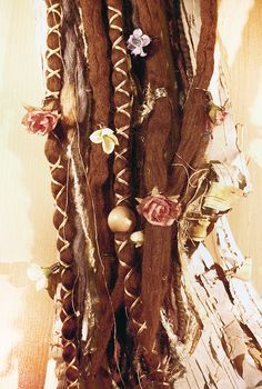 10pc Tie-Dye Wool Brown Flower Maiden Dreads with X-Cross Wrap & Beads Bohemian Hippie Dreadlocks Falls Synthetic Boho Extensions