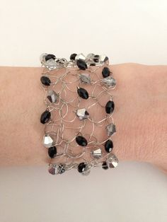 7 Black and Silver Knitted Wire Bracelet by CatDKnits on Etsy