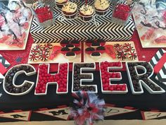 Candy and treats at a Cheerleading birthday party! See more party planning ideas… Cheer Birthday Party, Cheer Party, 9th Birthday, Birthday Ideas, Party Party, Cheerleading Cake, Cheerleading Cheers, Cheerleader Party, Cheerleading Decorations