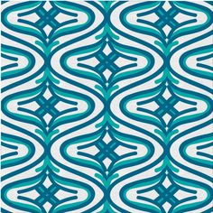 Doppler Waves Fabric, Bedazzled Reverse Greek Teal, featured on Guildery