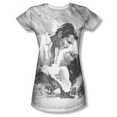 Gone with the Wind B&W Movie Poster Ladies Women All Over Vintage T-shirt top Ladies Jr Sizes: S, M, L, XL, 2XL