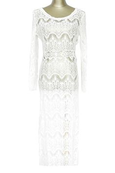White Lace Long Sleeve Maxi Cover-Up