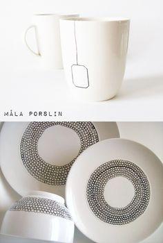 It's a house - en av Sveriges största inredningsbloggar: DIY - måla porslin Crafts To Sell, Diy And Crafts, Crafts For Kids, Rustic Mugs, Pottery Designs, Artsy Fartsy, Diy Art, Diy Gifts, Decoration