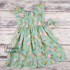0c70b80e52ca Aqua and Pink Modern Floral Flutter Sleeve Peasant Dress and Bow Headband  Set, Baby and