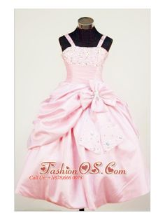 Bowknot Straps Baby Pink Taffeta Beading Little Girl Pageant Dresses For Custom Made  http://www.fashionos.com  http://www.facebook.com/quinceaneradress.fashionos.us  The beaded straps neckline ball gown little girl pageant dress features a fitted bodice with the beading embellish the chest. The full skirt is accented with a bowtie which is also embellished with scattered beading.