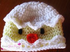 DONE!!  Cracked Egg Chick Hat My first hat...took a while but worth it when I saw Mums face.