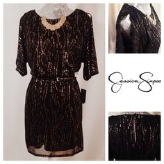 Jessica Simpson Gold/Black Dress & Belt: NWT NEW with tags. Jessica Simpson cold shoulder black and metallic gold dress cinched in the middle. Black belt. Perfect and ready for a fun night out! Jessica Simpson Dresses Mini