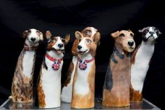 Lesley Martin Ceramics sells ceramic figures in the Covent Garden Crafts Market in London.