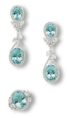 GABRIELLE'S AMAZING FANTASY CLOSET | A Suite of Paraiba Tourmaline and Diamond Jewelry | Ear Pendants and Ring | Mounted In Platinum |