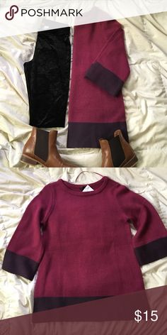 NWT oversized color block sweater pair with leggings for a cozy winter look. for fall, wear your favorite short, knee high socks, and booties for a fun fall style! this plum and wine colored sweater is versatile and a must in your closet this season H&M Sweaters