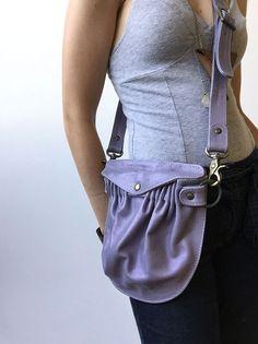 Leather Tasku Convertible Bag- Lavender Leather- Leather Crossbody Bag- ready to ship- fanny pack bag- hip pocket bag
