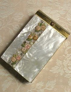 Vintage Cigarette Case Mother of Pearl Floral Pink Green Marhill Fashion of 5th Ave 1950s