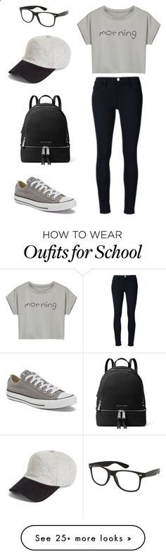 School outfit by sarahaider on Polyvore featuring Frame Denim, Converse, MICHAEL Michael Kors, rag  bone and WithChic