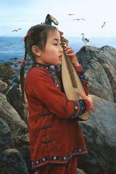 ARTIST WAI MING - Asian Oriental Chinese Fine Art Artwork Paintings Catalog (title: My Fans)