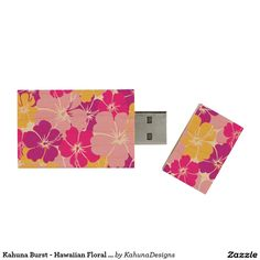 Kahuna Burst - Hawaiian Floral Design Wood USB 3.0 Flash Drive