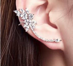 Mismatched Diamond Ear Cuff. Mismatched Silver Cz Diamond Ear Cuff with Stud. Nevette Shaped Zirconia Diamonds Climb Up The Ear and Wraps around the Lobe.