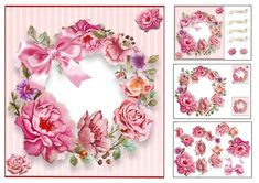 Pretty pink flowers in a wreath shape with a pink bow. 4 sheets in this mini kit including a blank insert and gift tag. Add layers and decoupage. Easel Cards, Flower Fashion, Happy Anniversary, Yellow Flowers, Watercolor Flowers, Pretty In Pink, Gift Tags, New Baby Products, Decoupage