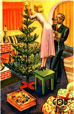 Julekort DAMSLETH, HARALD. Mor og far pynter juletreet. Brukt 1935 Utg Damm.
