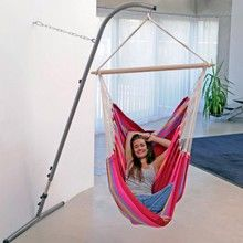 This hammock chair stand opens up the possibilities for locating your chair anywhere you can find a wall, ideal for dorm rooms!