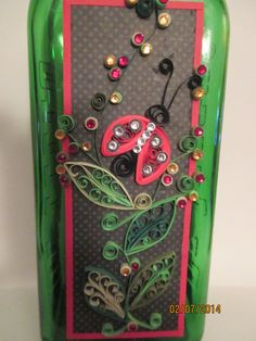 Quilled Lsdy Bug Bottle 2
