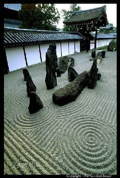 Dry water garden. The art of the garden. Perfection.